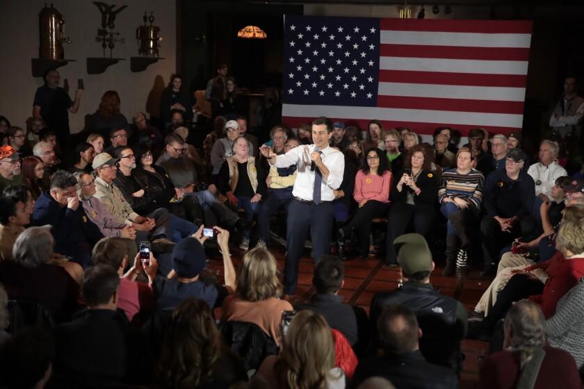 Democratic presidential candidate Pete Buttigieg speaks during a Nov. 26 campaign stop in Denison, Iowa.