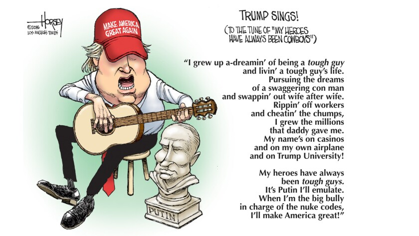 Donald Trump sings a song of admiration for Vladimir Putin.