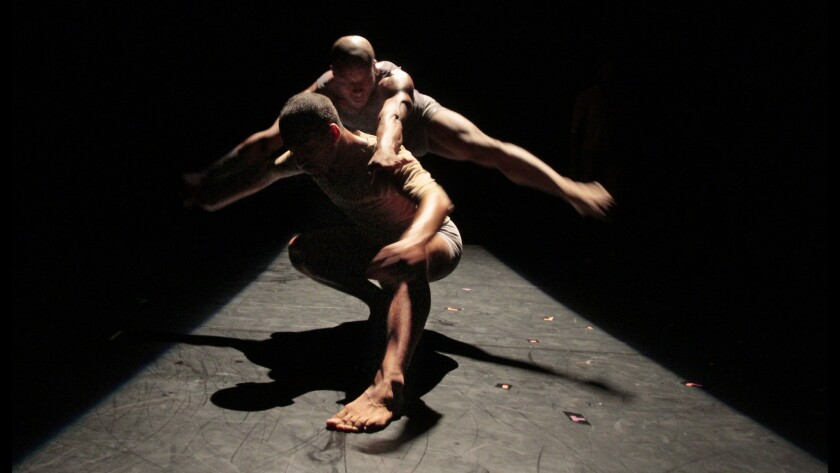 """""""Still,"""" a new dance by Rosanna Gamson for her World Wide company, is part of the opening program. Pictured: Jonathan Bryant, top, and Kearian Giertz."""
