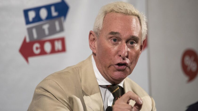 Roger Stone speaks during Politicon at the Pasadena Convention Center on July 29, 2017.