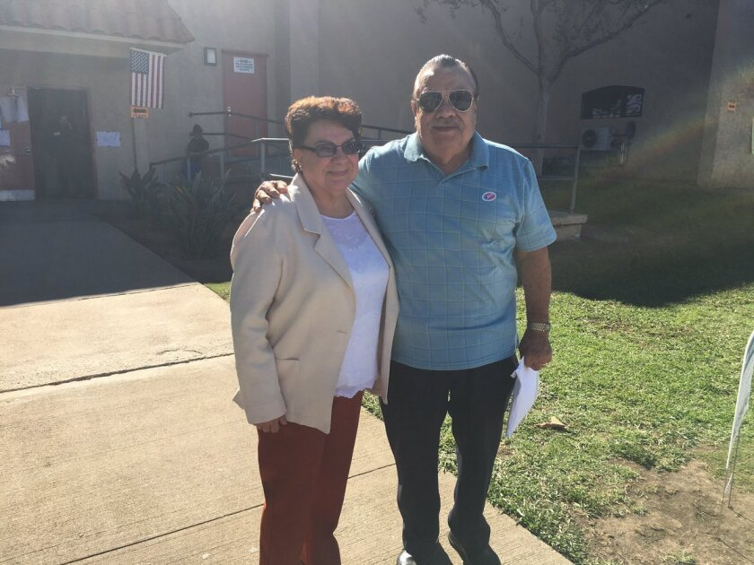 Martha and Juan Sanchez, East L.A. residents, voted for the first time today for Hillary Clinton.