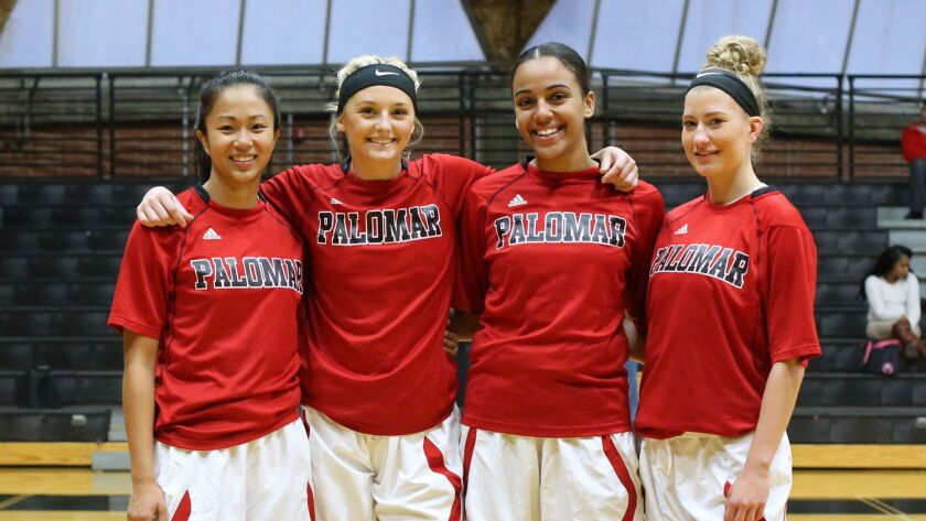 Palomar College teammates (from left) Roshell Lamug, Allie Israel, Monica Todd and Cheyenne Ertz all played at Mission Hills High.
