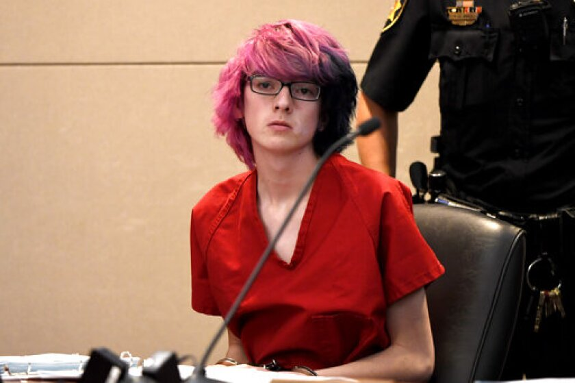 FILE - In this May 15, 2019, file photo, Devon Erickson makes a court appearance at the Douglas County Courthouse in Castle Rock, Colo. Erickson, charged in a school shooting in a Denver suburb that killed one of his classmates, is in court to determine whether prosecutors have enough evidence to go to trial. Erickson appeared Tuesday, Sept. 24, for what is expected to be a three-day preliminary hearing into his role in the May 7 shooting at the STEM School Highlands Ranch. (Joe Amon/The Denver Post via AP, Pool, File)