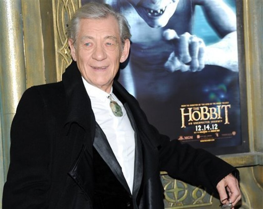 """FILE - This Dec. 6, 2012 file photo shows Ian McKellen attending the premiere of his film, """"The Hobbit: An Unexpected Journey"""" at the Ziegfeld Theatre in New York. Repeated filming delays almost caused Ian McKellen to quit his reprise as Gandalf the Grey in """"The Hobbit"""" trilogy, a prequel to """"The Lord of the Rings"""" in which he first played the wily wizard. But McKellen decided he """"must do it"""" for both the fans and himself, despite his various doubts about returning to the role. (Photo by Evan Agostini/Invision/AP, file)"""