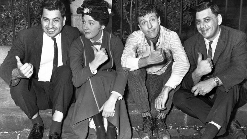 Richard Sherman (left), with Julie Andrews, Dick Van Dyke and Robert Sherman in 1963. Photo by Disne