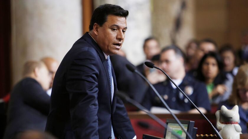 LOS ANGELES, CA: June 16, 2015 - Los Angeles City Council member Jose Huizar speaks during a City Co