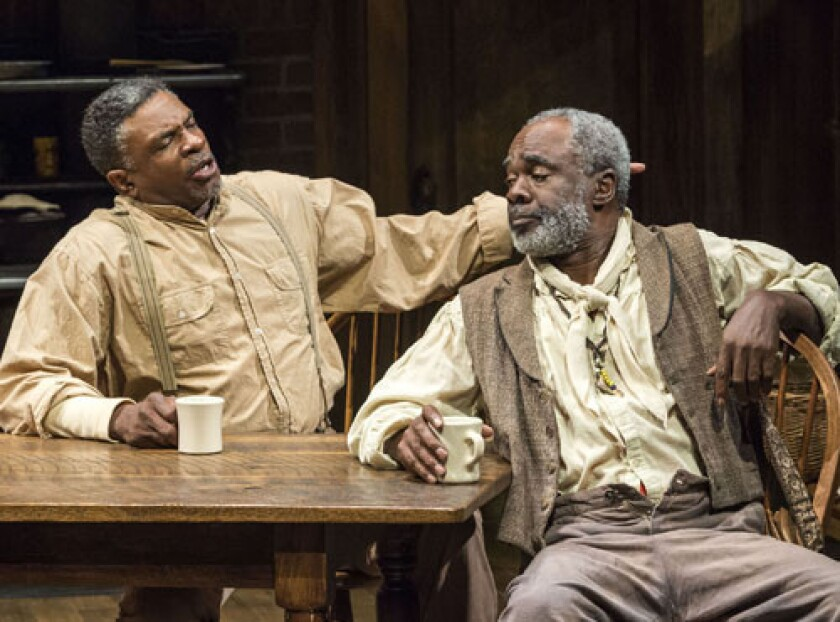 Glynn Turman as Bynum, right, lives in the boarding house run by Seth Holly (Keith David) in the Mark Taper Forum's 'Joe Turner's Come and Gone.'