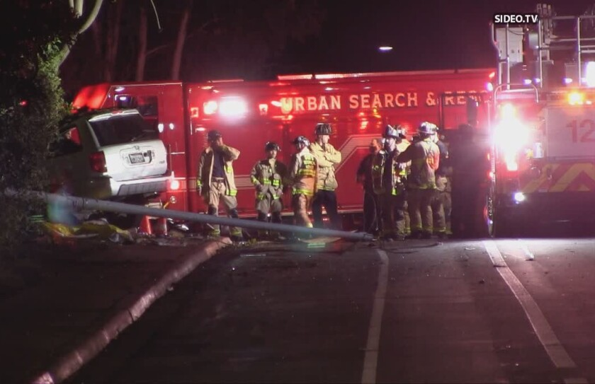 Three people were killed when a SUV crashed while being pursued by San Diego police late Tuesday.