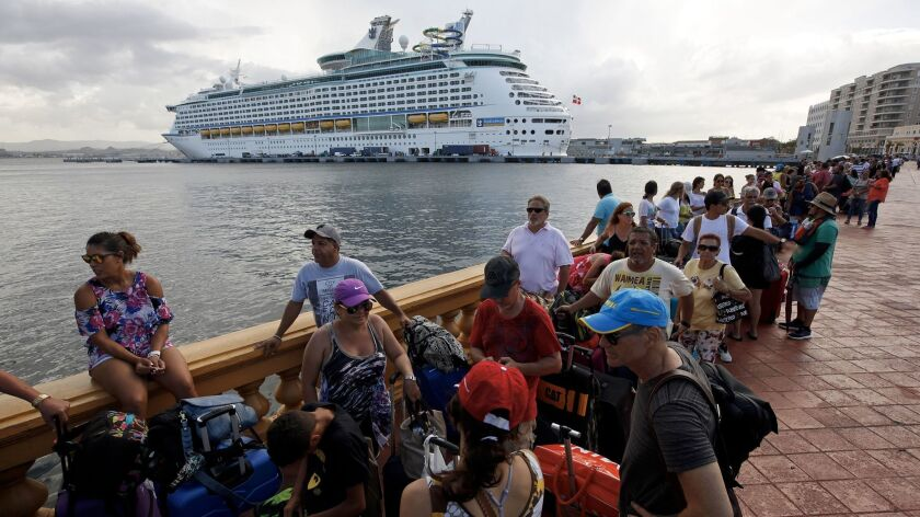 SAN JUAN, PUERTO RICO--SEPT. 28, 2017--A Royal Caribbean cruise ship is evacuating over 2,000 people