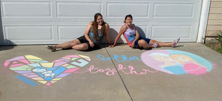 """Katherine Bliss and Erica Nicolet created a design inspired by Disney's """"Frozen"""" during the 2020 Chalk It Up! event in RB."""