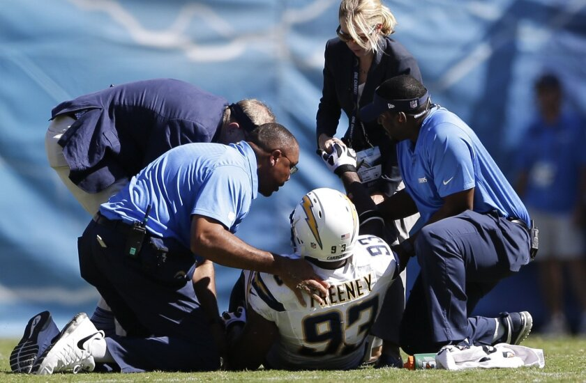 Chargers outside linebacker Dwight Freeney tore his quad against the Cowboys on Sept. 29, 2013.