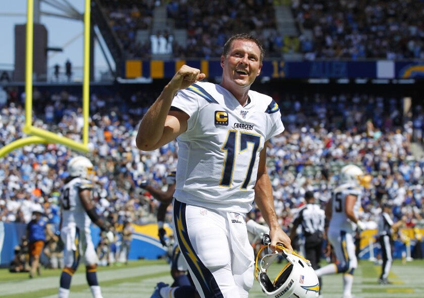 Philip Rivers after throwing touchdown pass in 2019.