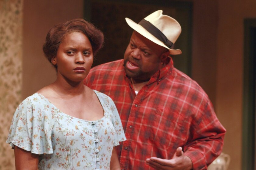 """""""Chuck"""" TV star Mark Christopher Lawrence (at right) will host """"Big Mike vs. The Con"""" on July 22 and 23. He is shown above with  Monique Gaffney in Cygnet Theatre's production of """"The Piano Lesson."""" Photo by Daren Scott."""