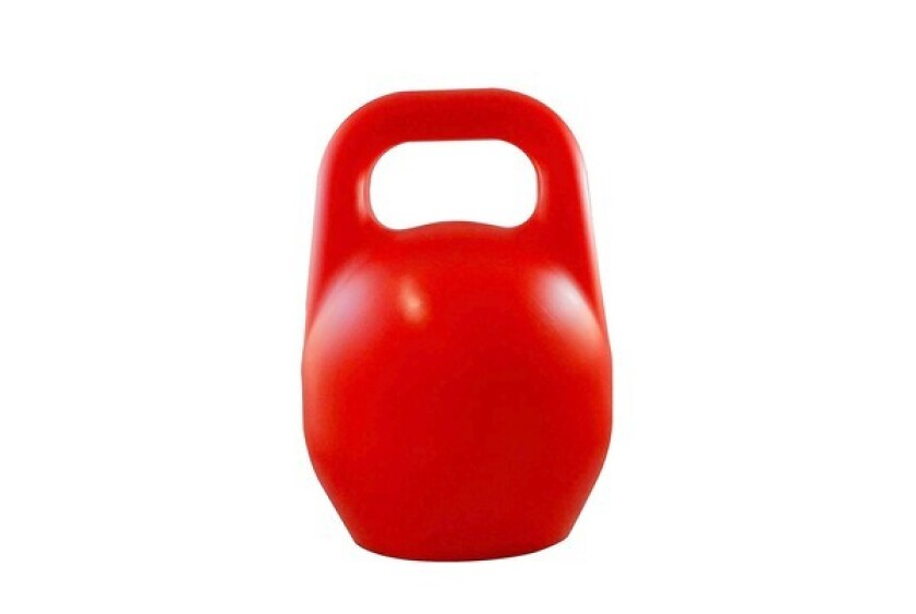 Hollow 2-pound plastic kettle that can be filled with water (12 pounds), sand (18 pounds) or metal shot (49 pounds).