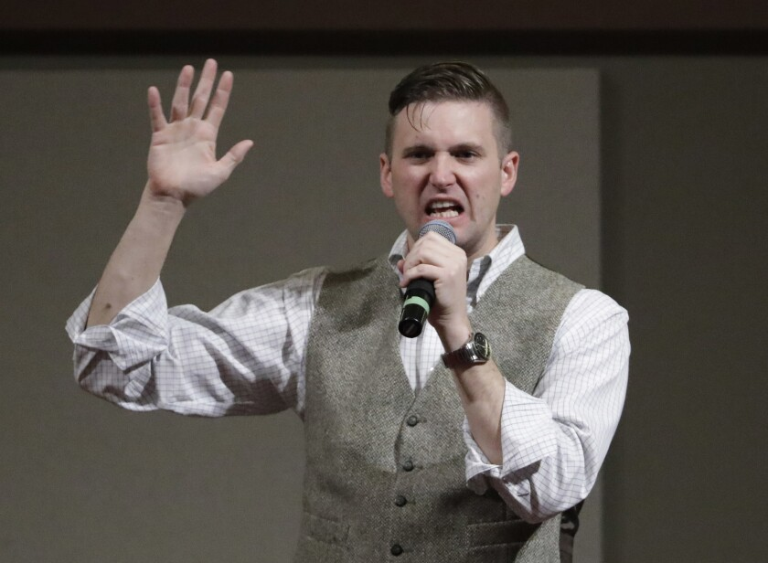 Richard Spencer, who leads a movement that mixes racism, white nationalism and populism, speaks at Texas A&M University campus this month.