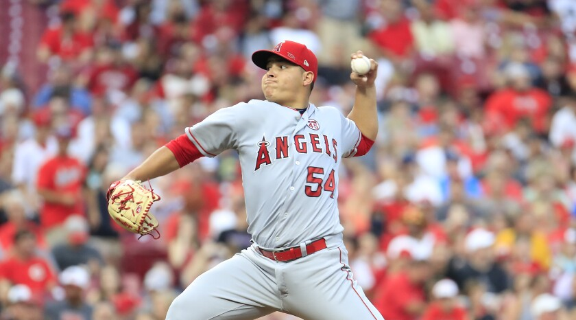 Angels pitcher Jose Suarez throws a pitch against the Cincinnati Reds on Tuesday in Cincinnati.