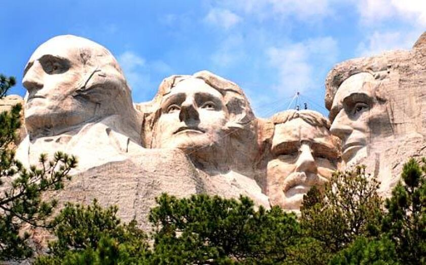 Four presidents' faces are carved into Mount Rushmore, South Dakota.