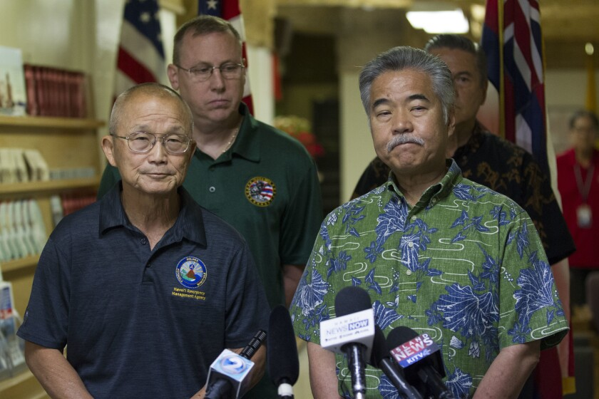 Vern Miyagi, Administrator, HEMA, left, and Hawaii Gov. David Ige addressed the media Jan. 13, 2018, during a press conference at the Hawaii Emergency Management Center at Diamond Head on Saturday following the false alert issued of a missile headed toward Hawaii.