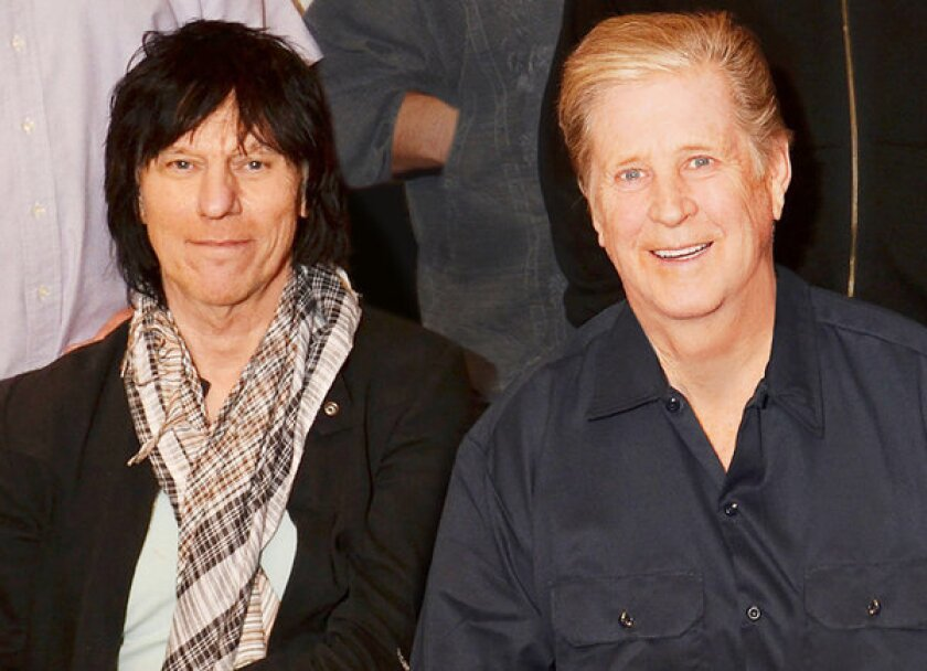 Jeff Beck, left, and Brian Wilson will tour together starting Sept. 27 with a lineup that will include former Beach Boy member Blondie Chaplin for five shows.
