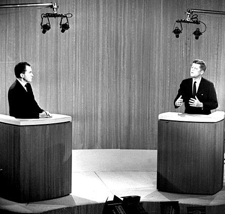 """By Brian Hanrahan, Los Angeles Times Staff Writer Televised debates have been held in nine presidential elections before this year's, and perhaps the abrasions of time have winnowed all those words and pictures down to a few recollections: Richard Nixon in need of a shave; Ronald Reagan asking, """"Are you better off than you were four years ago?""""; Michael Dukakis looking short; George Bush the elder glancing at his watch. But are those distant memories any different from what the collective conscience could recall from the debates even immediately after they were held? Photo: Richard Nixon and John F. Kennedy during their fourth televised debate in 1960."""