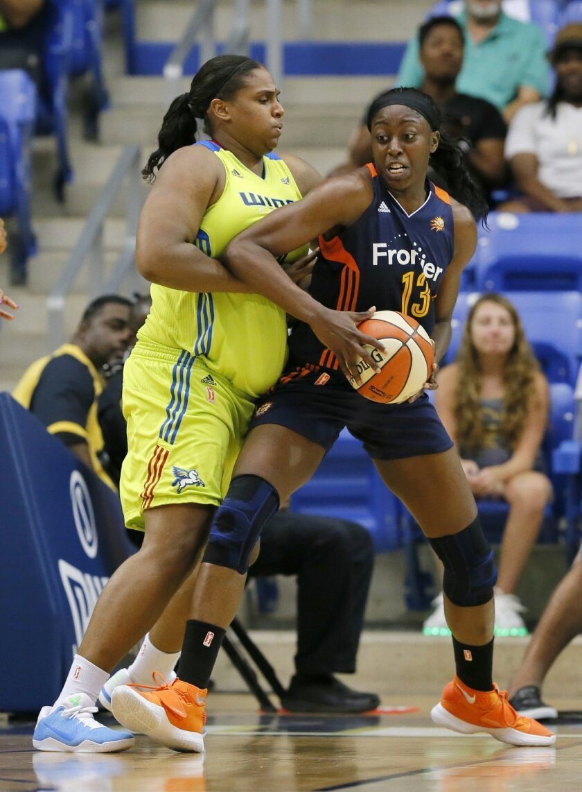 Dallas Wings' Courtney Paris, left, defends as Connecticut Sun forward Chiney Ogwumike (13) positions for a shot attempt in the first half of an WNBA basketball game, Wednesday, July 20, 2016, in Arlington, Texas. (AP Photo/Tony Gutierrez)