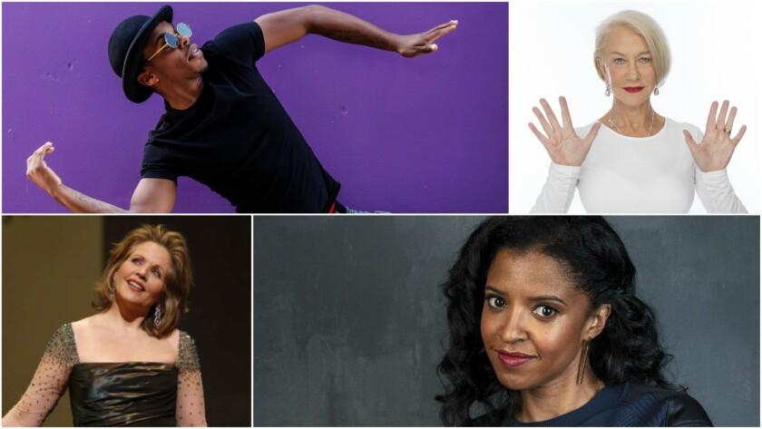 Clockwise, from top: Lil Buck, Helen Mirren, Renee Elise Goldsberry and Renee Fleming.