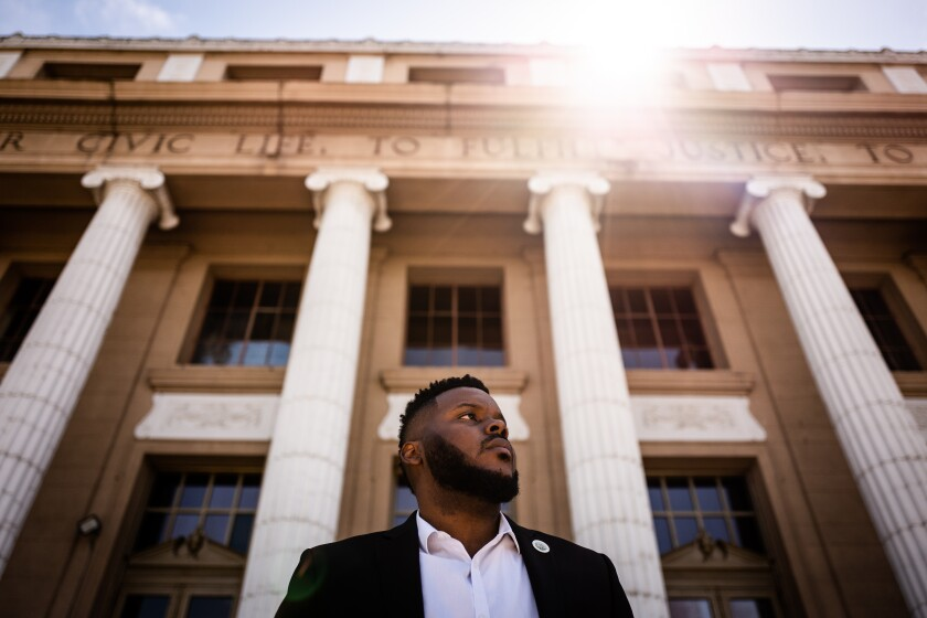Mayor Michael Tubbs in front of City Hall in downtown Stockton.