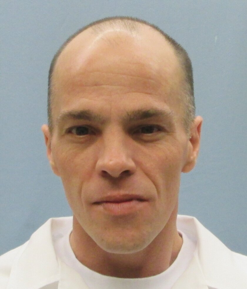 This Jan. 20, 2016, photo provided by the Alabama Department of Corrections shows Christopher Eugene Brooks, convicted of the 1992 rape and beating death of a woman. Brooks is scheduled to receive a lethal injection Thursday, Jan. 21, 2016, in Atmore, Ala., in what would be Alabama's first execution in more than two years. (Alabama Department of Corrections via AP)