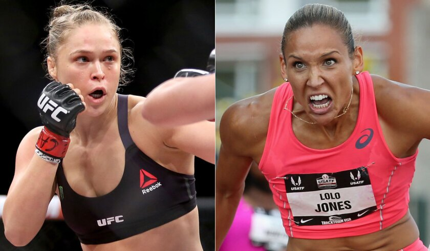 The dominance of Ronda Rousey, left, has captured the imagination of Olympian Lolo Jones.