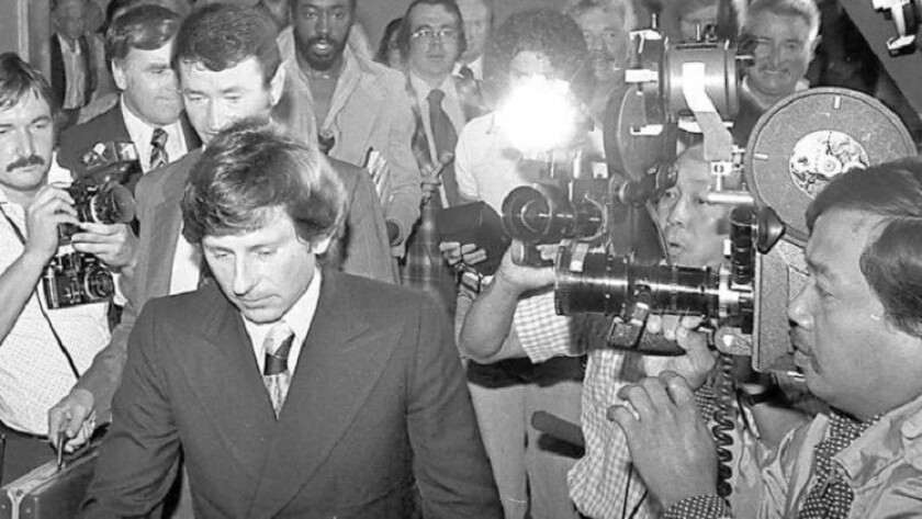Roman Polanski leaves court in Santa Monica in 1977 after being ordered to undergo a 90-day evaluation at a state prison.