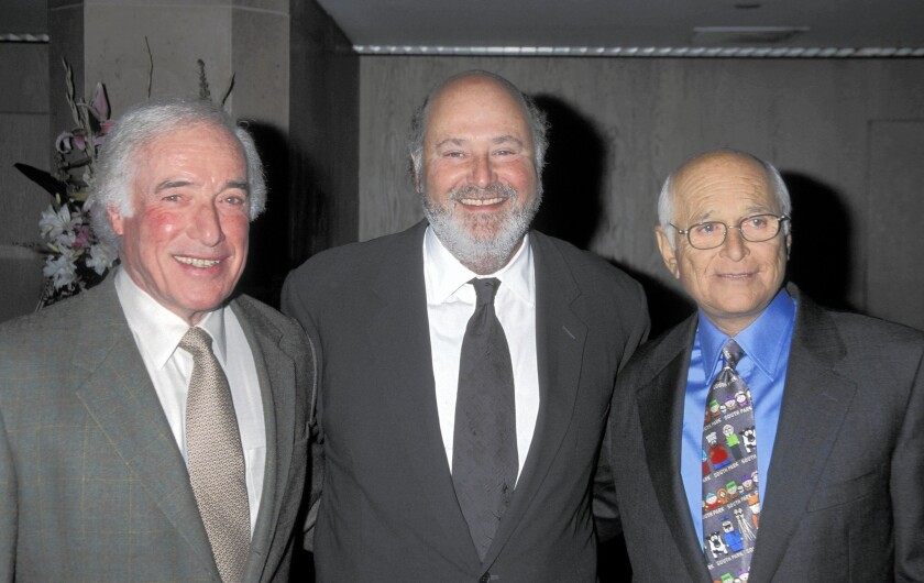 """Bud Yorkin, left, with """"All in the Family"""" star Rob Reiner, center, and partner Norman Lear."""
