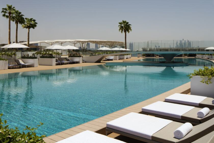 The freshwater pool at the Terrace features a swim-up bar in the center.