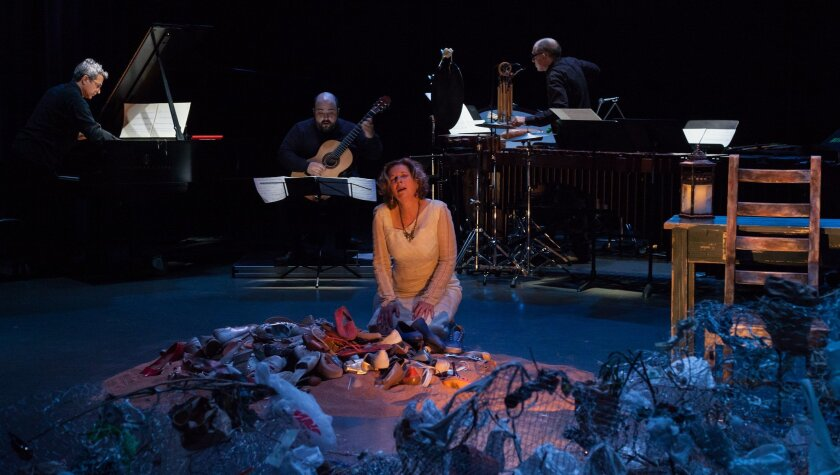 "Susan Narucki in the premiere of ""Cuatro Corridos"" at UC San Diego. Photo: Jim Carmody"