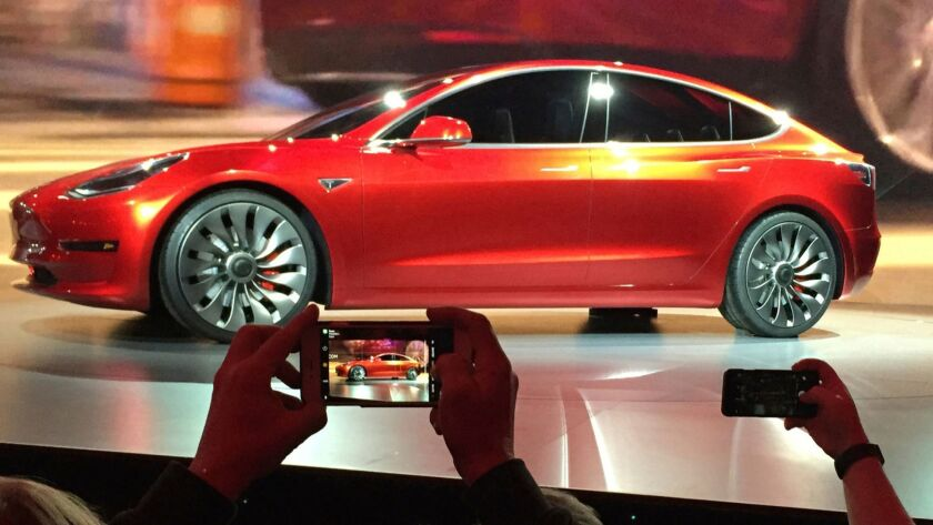 Tesla unveiled its Model 3 sedan, for which many buyers would be eligible for a $2,500 state rebate, in 2016.