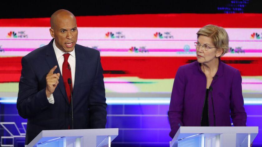 Democratic presidential candidate Sen. Cory Booker, D-NJ., speaks during the Democratic primary deba