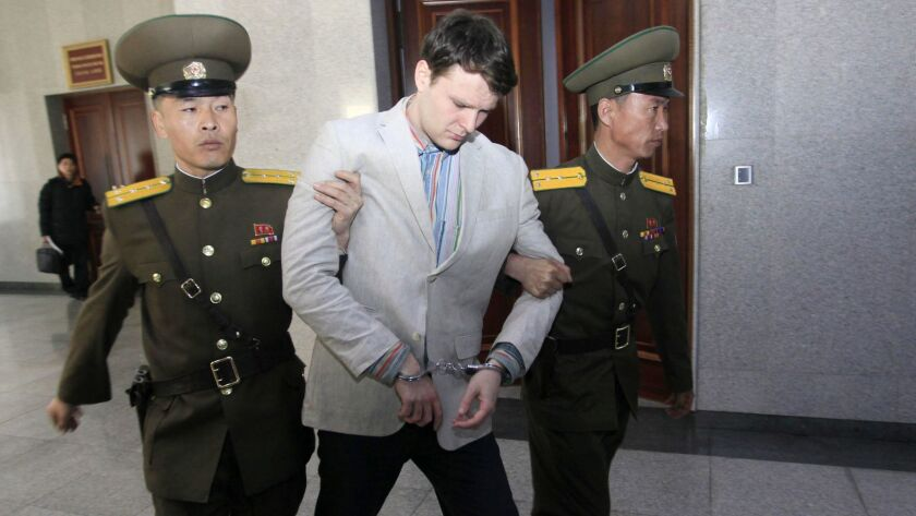 American student Otto Warmbier at North Korea's Supreme Court on March 16, 2016, in Pyongyang, North