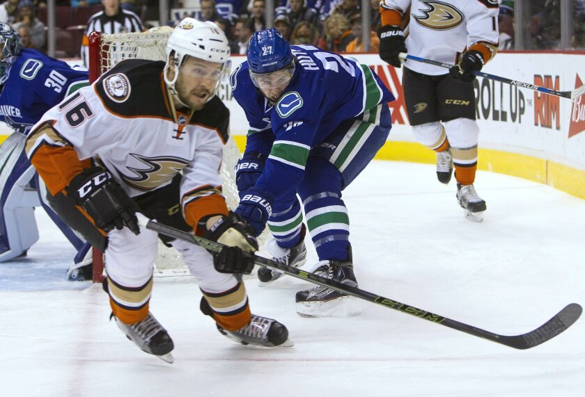 Anaheim Ducks' Ryan Garbutt (16) fights for the puck against Vancouver Canucks' Ben Hutton (27) during the first period of an NHL hockey game Thursday, Feb. 18, 2016, in Vancouver, British Columbia. (Ben Nelms/The Canadian Press via AP)
