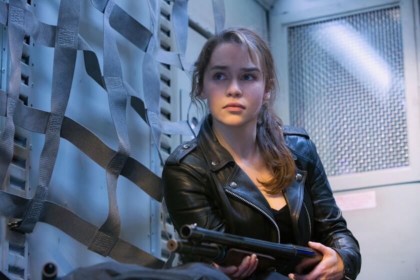 "Emilia Clarke as Sarah Connor in ""Terminator Genisys."""