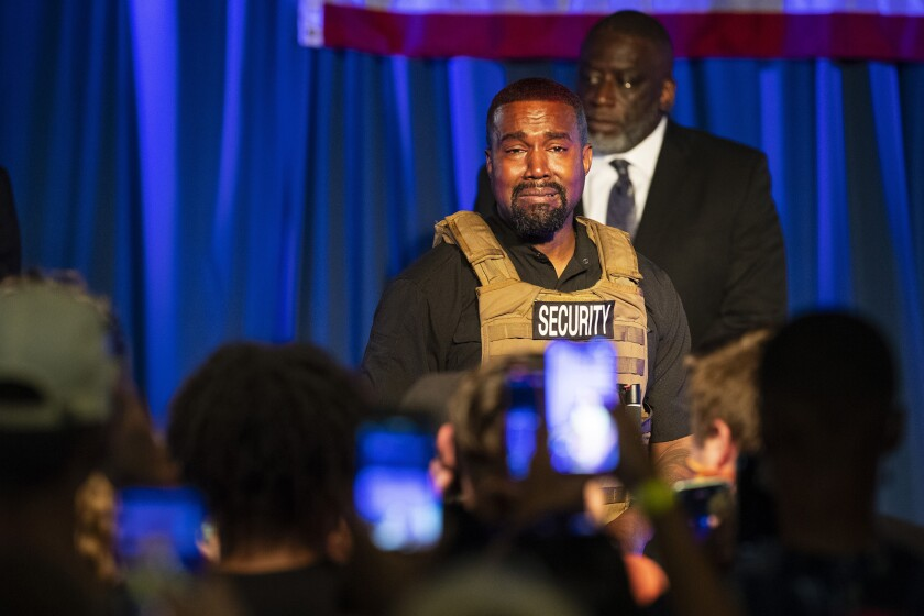 Kanye West delivers a lengthy monologue Sunday in North Charleston, S.C.