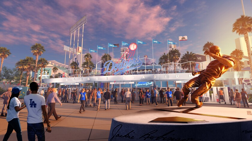 An artist's rendition of the proposed new outfield entrance to Dodger Stadium that is scheduled to be completed in 2020.
