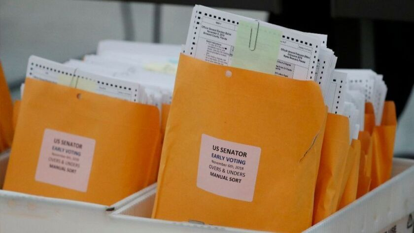 Boxes of ballots waiting to be examined at the Broward County Supervisor of Elections office on Nov. 16.