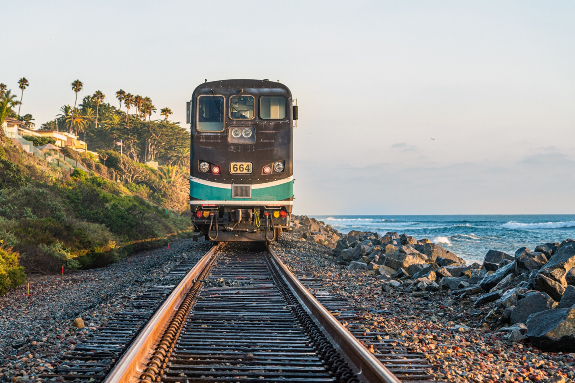 Southbound Metrolink train was stopped in San Clemente by ocean waves washing over the tracks