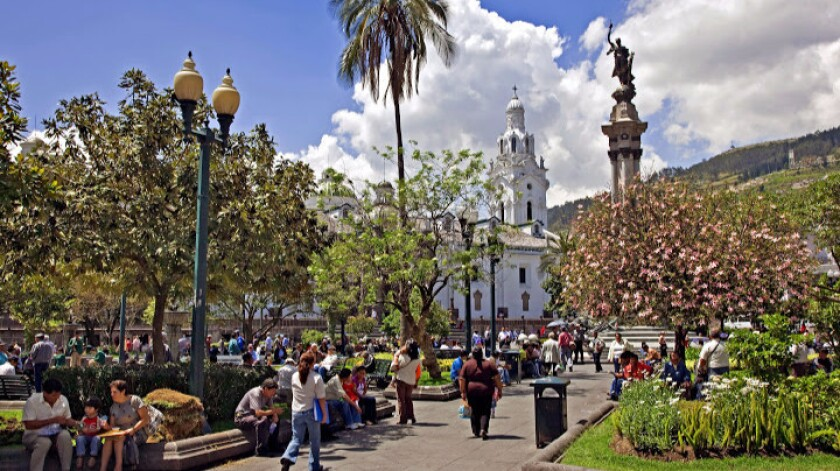 Independence Square in the old city of Quito. Airfare to Ecuador's capital is on sale for $445 from LAX.