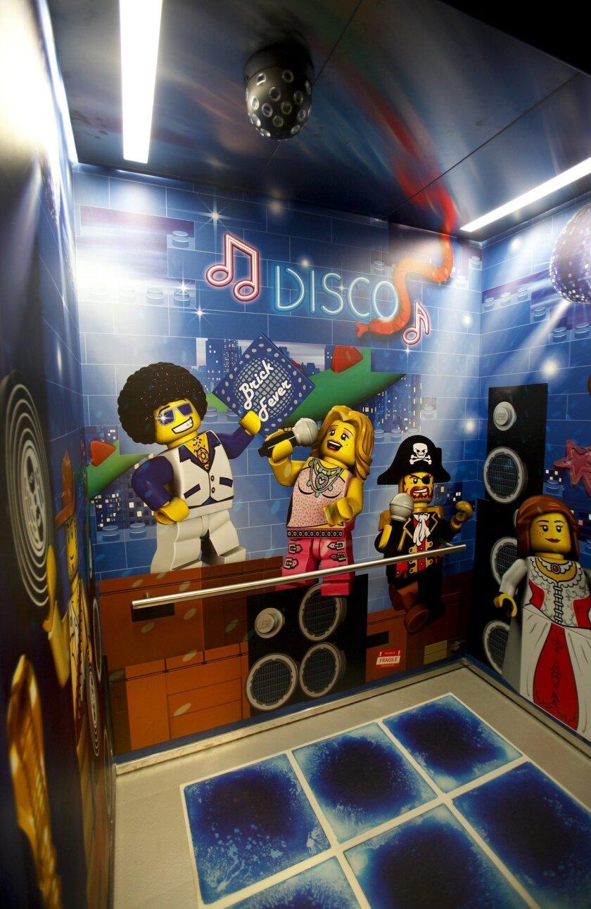 The 250-room Legoland Hotel preparing to open April 5 next to Legoland has a disco themed elevator.