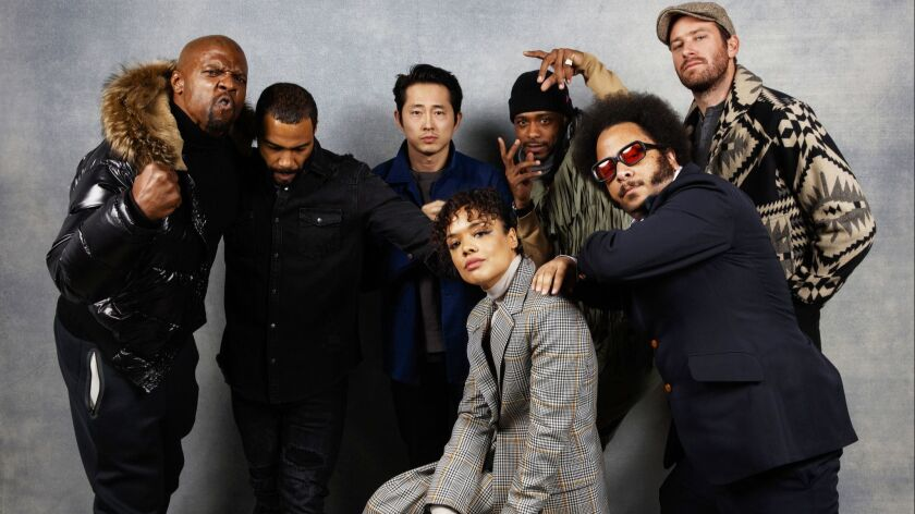 """Terry Crews, Omari Hardwick, Tessa Thompson, Steven Yeun, director Boots Riley, LaKeith Stanfield and Armie Hammer from the film, """"Sorry to Bother You."""""""