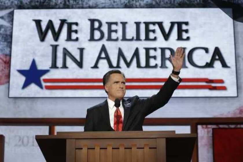 Republican presidential nominee Mitt Romney addresses delegates after speaking at the Republican National Convention in Tampa, Fla., on Aug. 30.