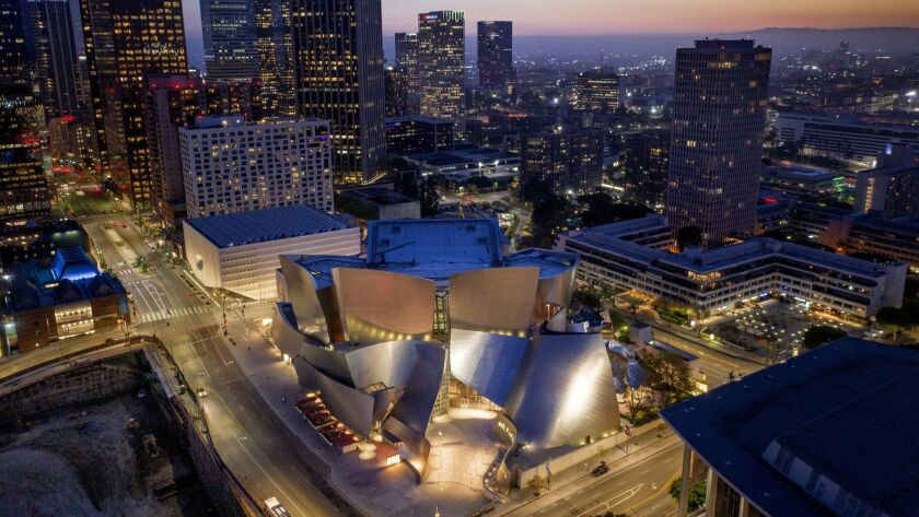 3078323_la-me-Drone-Grand-Ave- Drone photography in DTLA showing Disney Hall and the Broad.