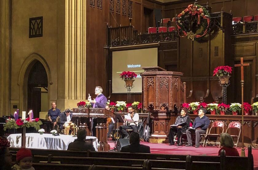 Christmas Eve service in pre-COVID times at Iglesia Presbiteriana Immanuel Presbyterian Church in Los Angeles