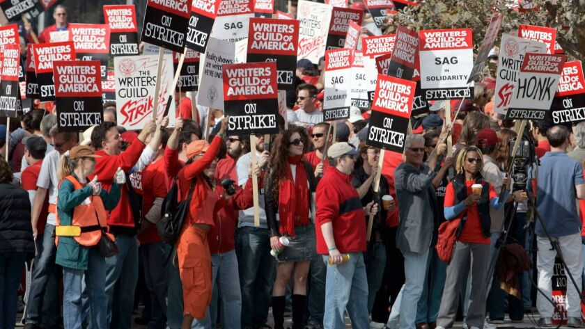 Boster, Mark –– – 130426.FI.1109.strike.MJB–(Century City)– Nearly 4,000 WGA members and supporters