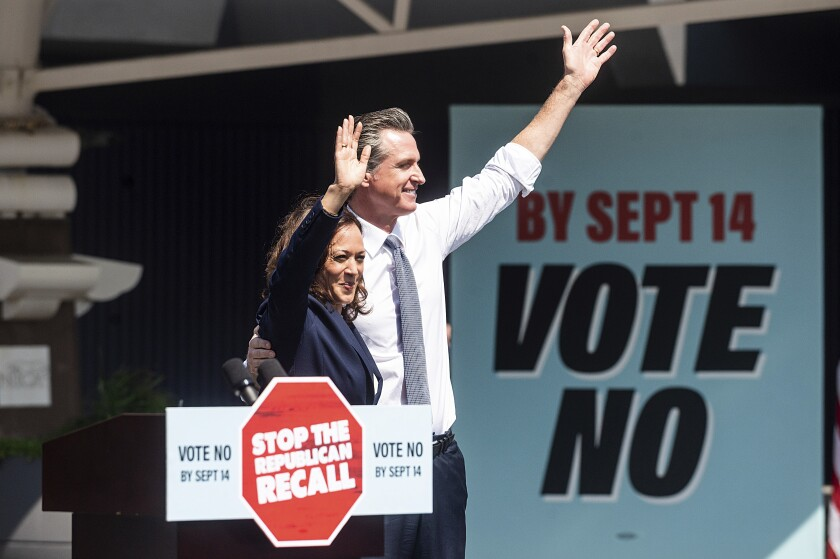 Vice President Kamala Harris joins Gov. Gavin Newsom in San Leandro to rally against the gubernatorial recall election.
